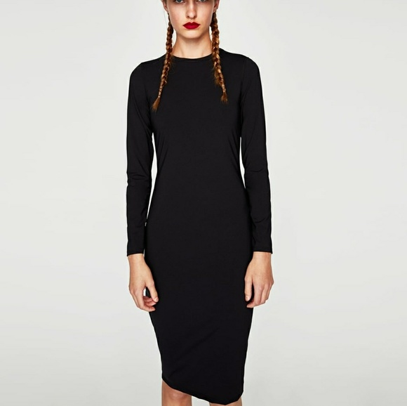 157454568575 Zara Dresses | Black Midi Bodycon Dress | Poshmark
